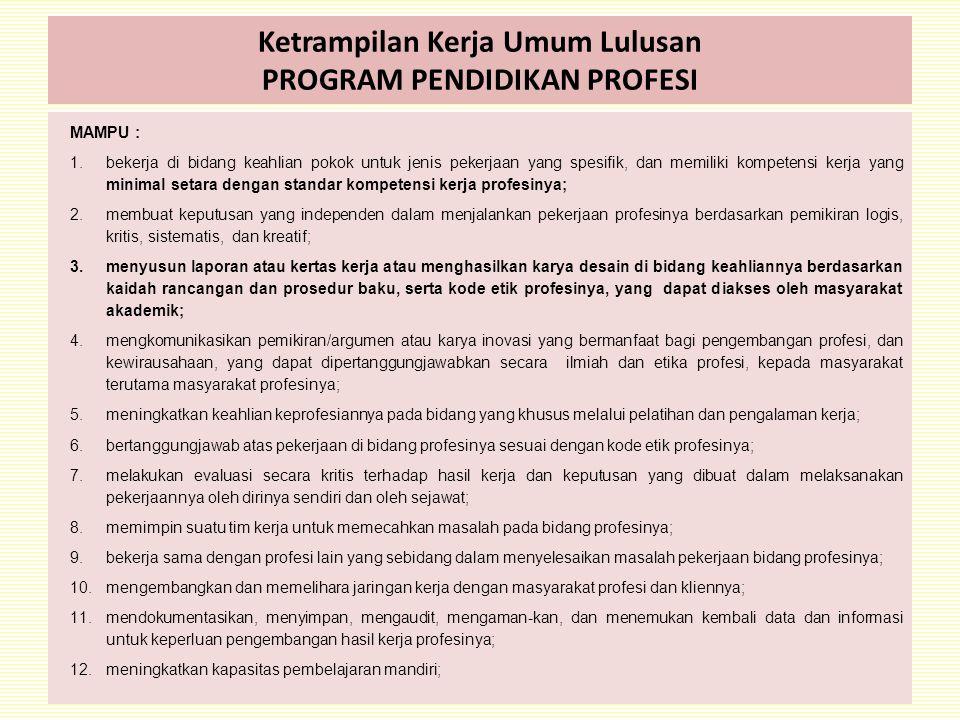 Ketrampilan Kerja Umum Lulusan PROGRAM PENDIDIKAN PROFESI