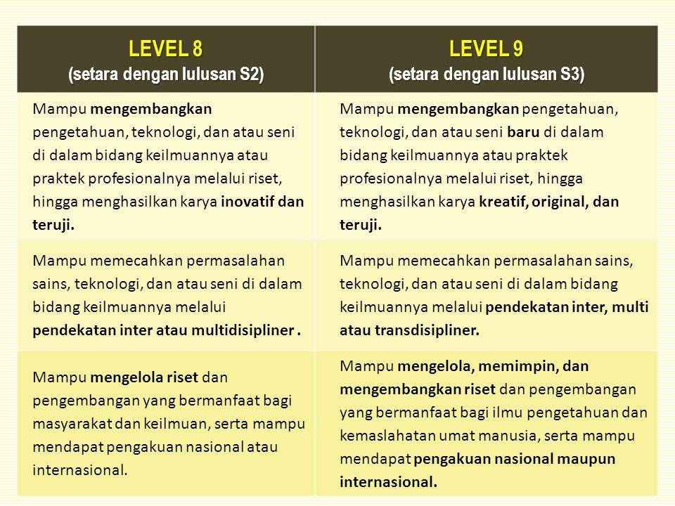 (setara dengan lulusan S2) (setara dengan lulusan S3)