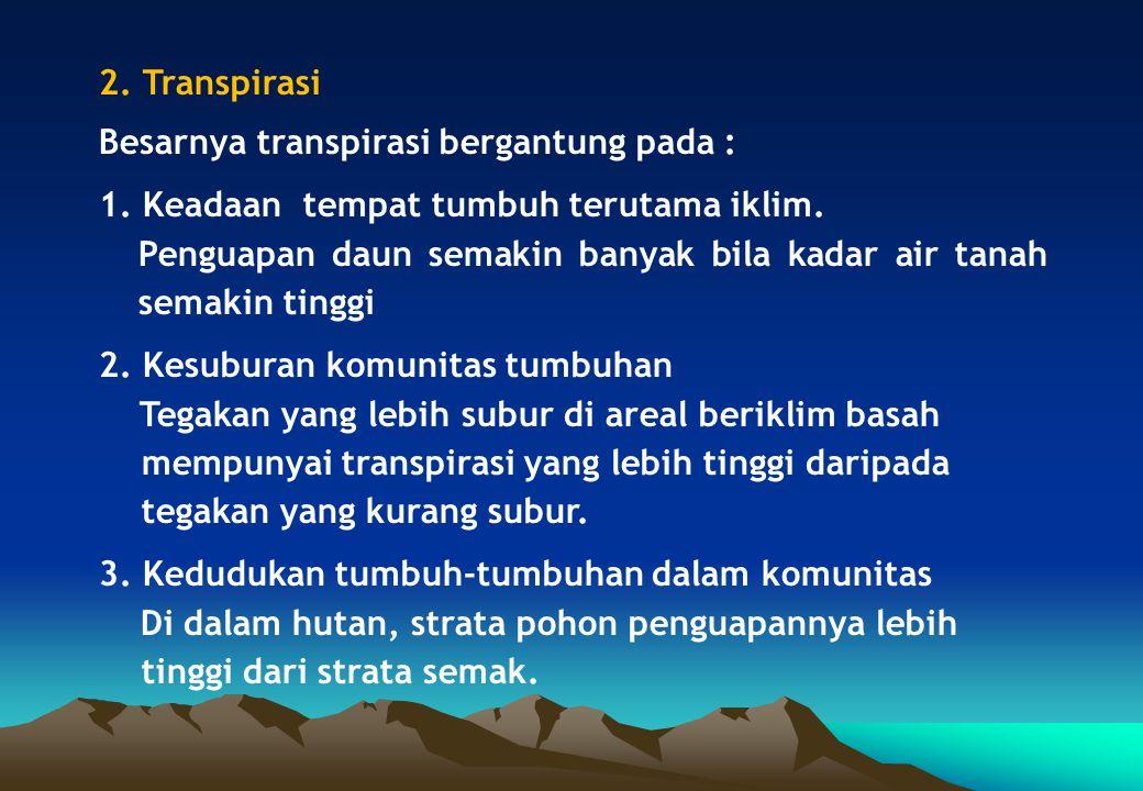 2. Transpirasi Besarnya transpirasi bergantung pada : 1. Keadaan tempat tumbuh terutama iklim.