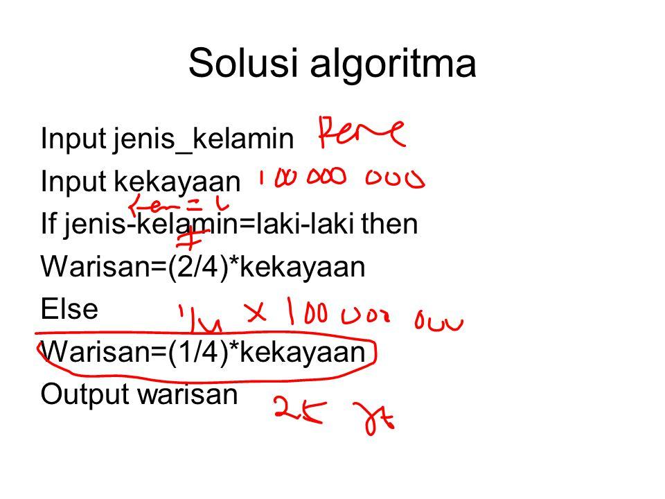 Solusi algoritma Input jenis_kelamin Input kekayaan