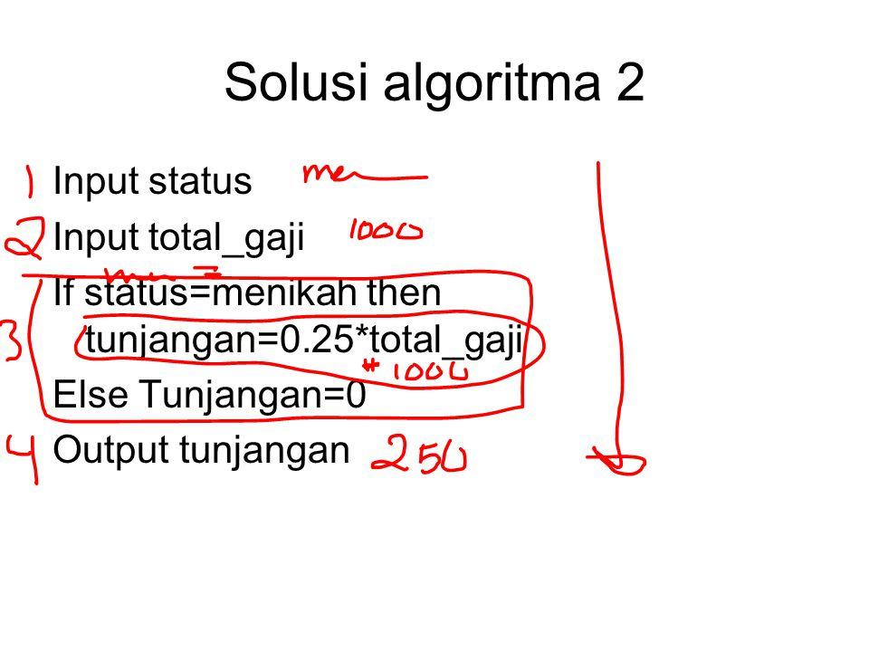 Solusi algoritma 2 Input status Input total_gaji