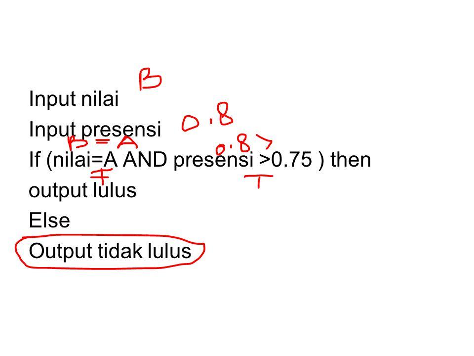 Input nilai Input presensi. If (nilai=A AND presensi >0.75 ) then.