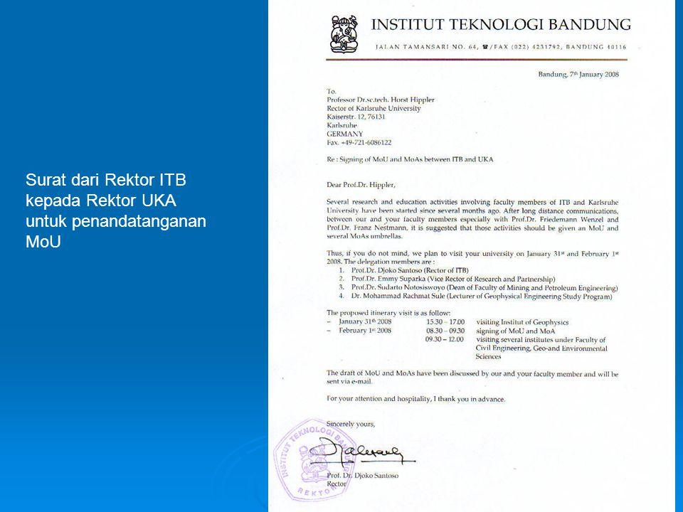 Surat dari Rektor ITB kepada Rektor UKA
