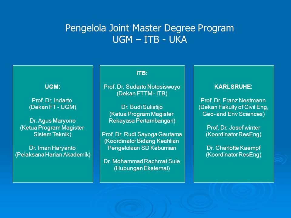 Pengelola Joint Master Degree Program UGM – ITB - UKA