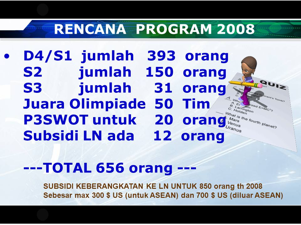 RENCANA PROGRAM 2008