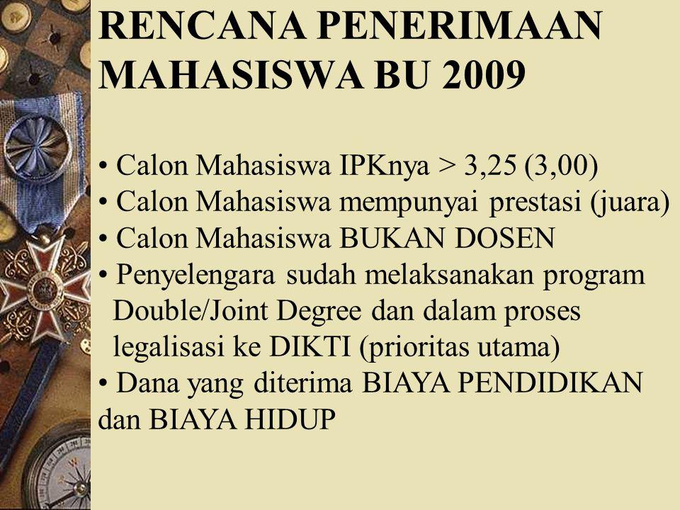RENCANA PENERIMAAN MAHASISWA BU 2009