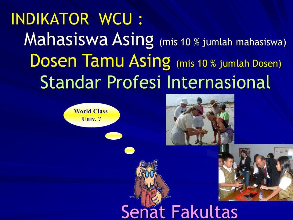 INDIKATOR WCU : Mahasiswa Asing (mis 10 % jumlah mahasiswa) Dosen Tamu Asing (mis 10 % jumlah Dosen) Standar Profesi Internasional.