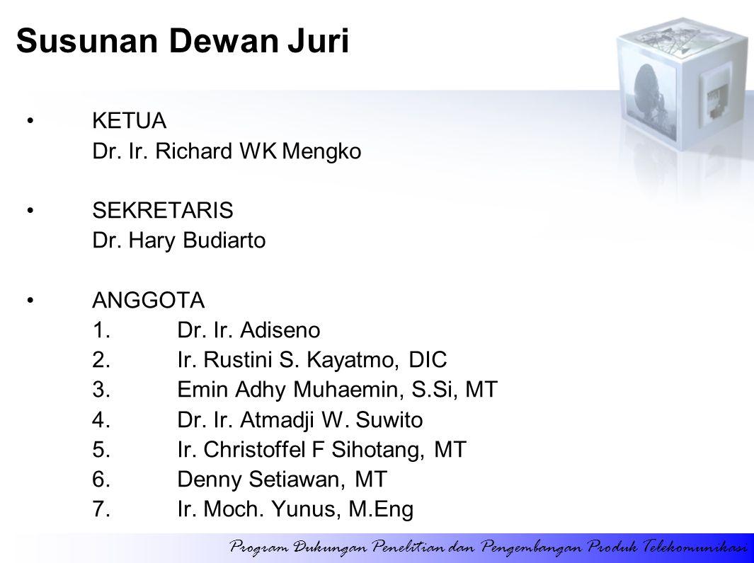 Susunan Dewan Juri KETUA Dr. Ir. Richard WK Mengko SEKRETARIS