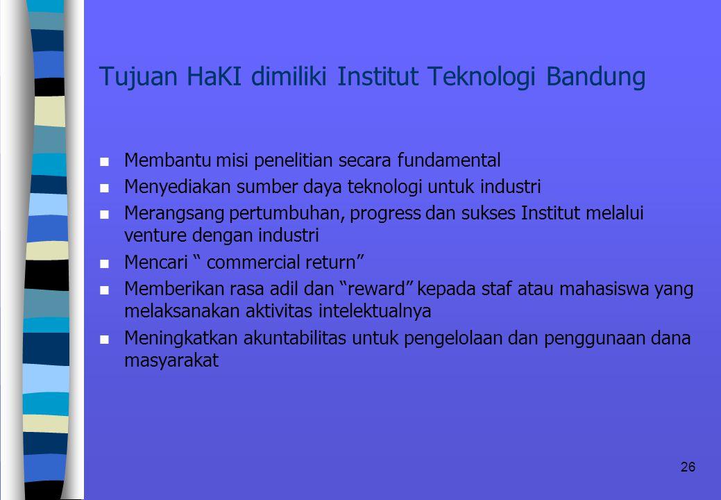 Tujuan HaKI dimiliki Institut Teknologi Bandung