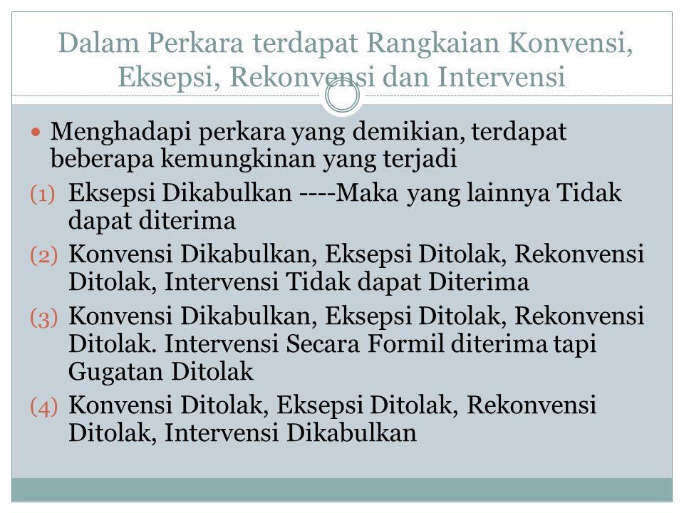 Dalam Perkara terdapat Rangkaian Konvensi, Eksepsi, Rekonvensi dan Intervensi