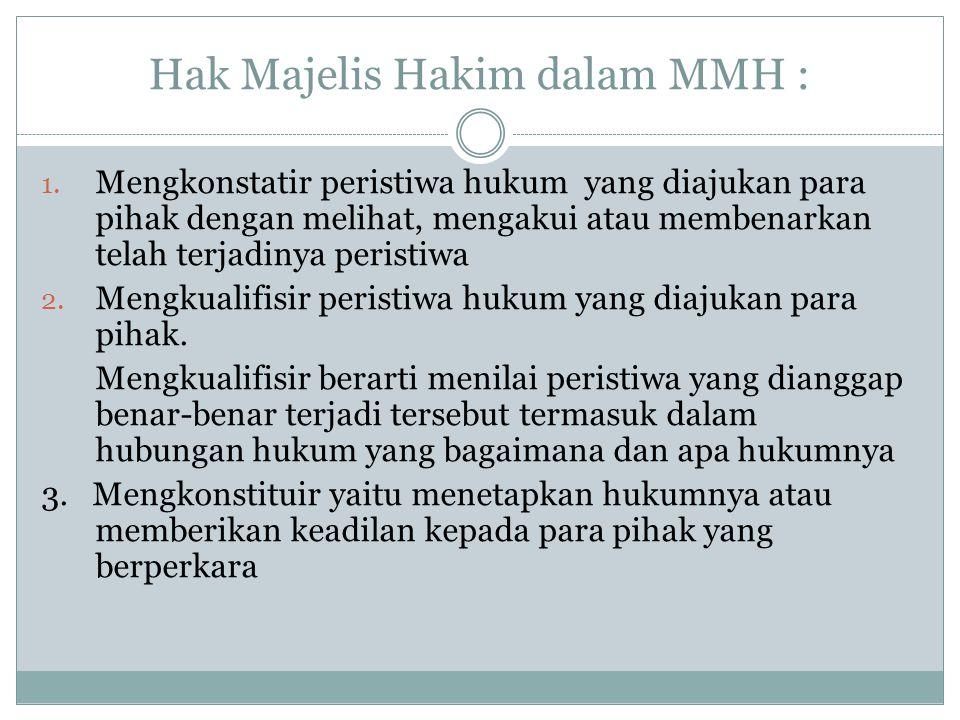 Hak Majelis Hakim dalam MMH :