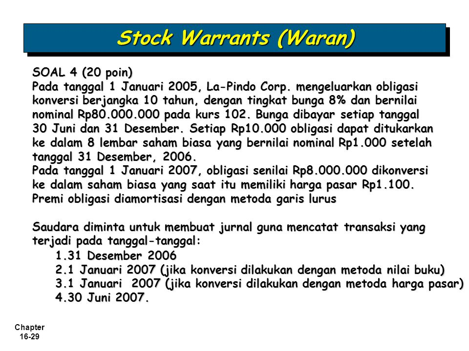 Stock Warrants (Waran)