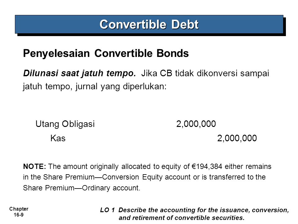 Convertible Debt Penyelesaian Convertible Bonds