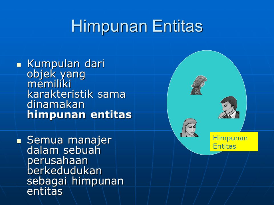 Himpunan Entitas Kumpulan dari objek yang memiliki karakteristik sama dinamakan himpunan entitas.