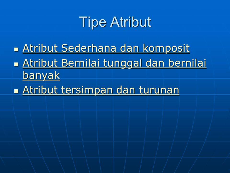 Tipe Atribut Atribut Sederhana dan komposit