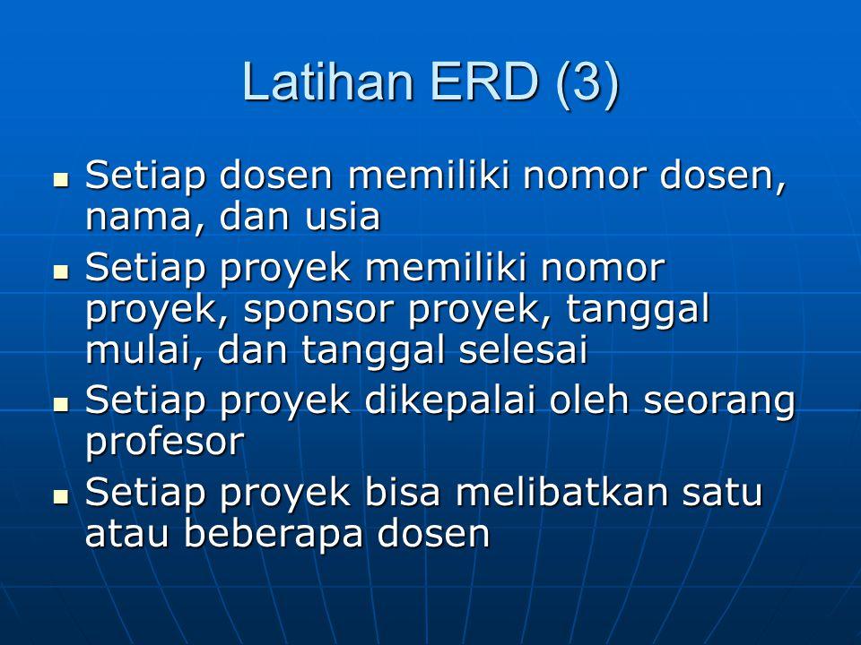 Latihan ERD (3) Setiap dosen memiliki nomor dosen, nama, dan usia