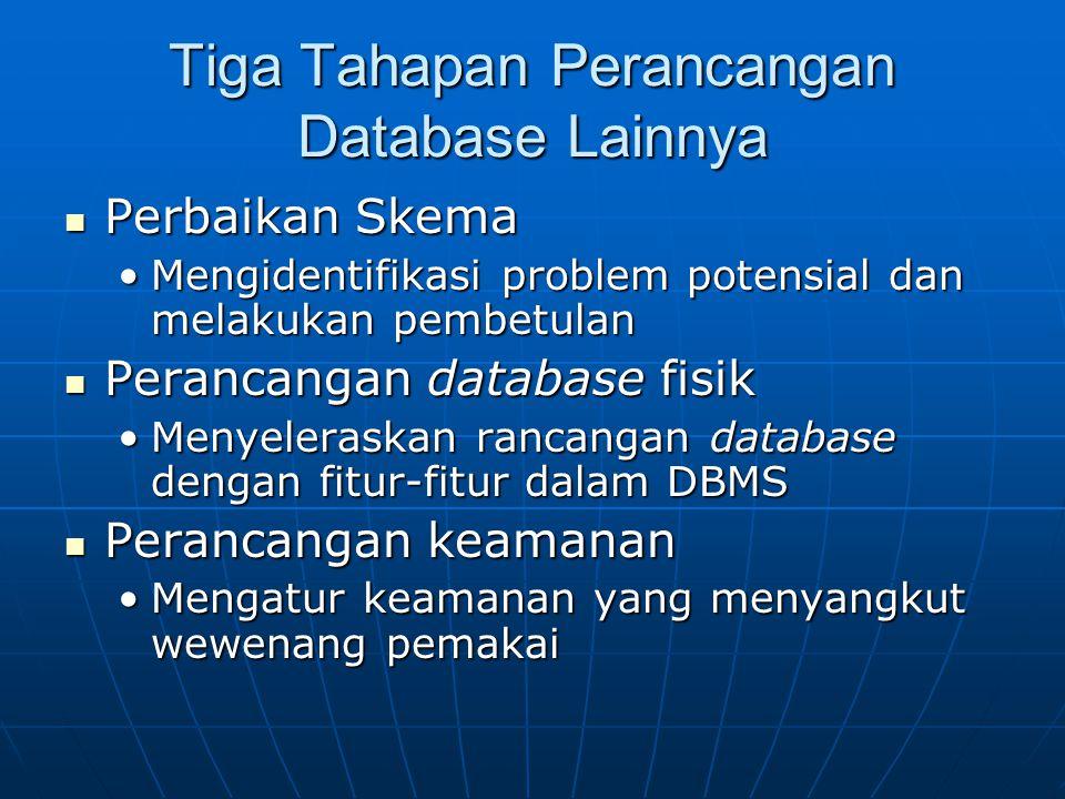 Tiga Tahapan Perancangan Database Lainnya
