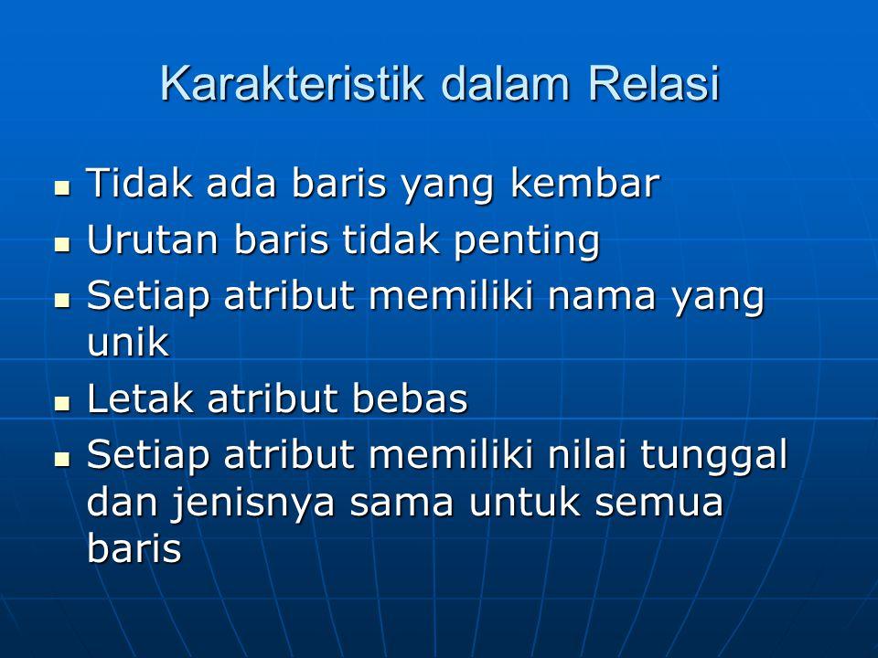 Karakteristik dalam Relasi
