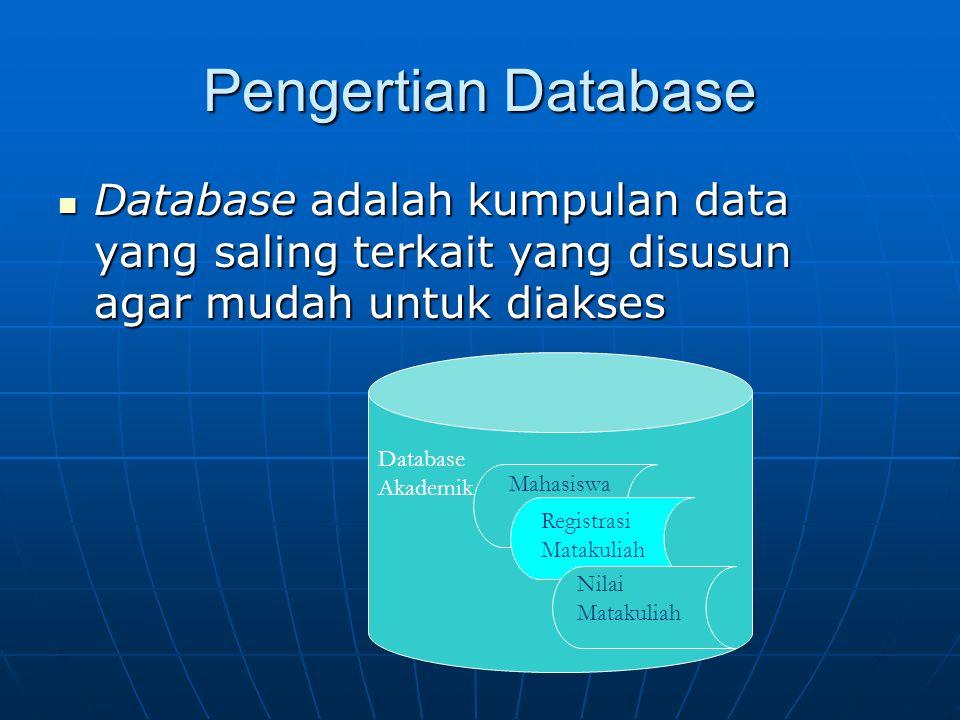 Pengertian Database Database adalah kumpulan data yang saling terkait yang disusun agar mudah untuk diakses.