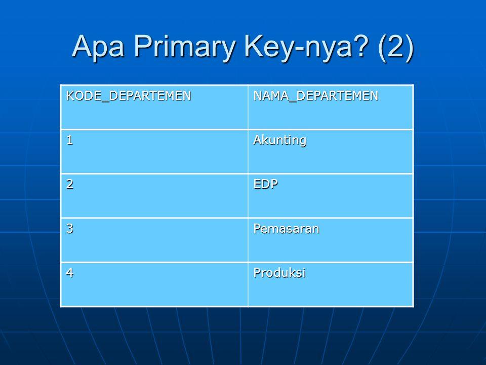 Apa Primary Key-nya (2) KODE_DEPARTEMEN NAMA_DEPARTEMEN 1 Akunting 2