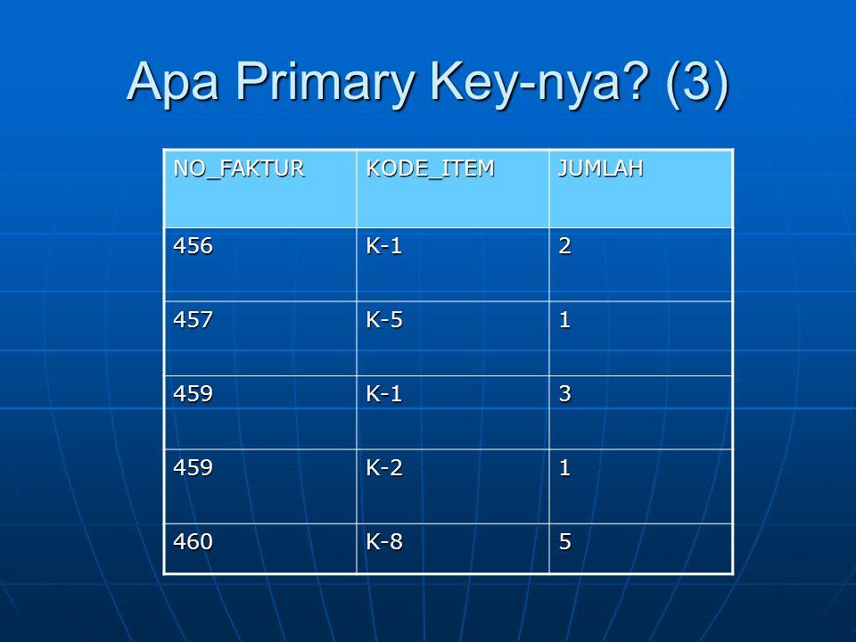 Apa Primary Key-nya (3) NO_FAKTUR KODE_ITEM JUMLAH 456 K-1 2 457 K-5