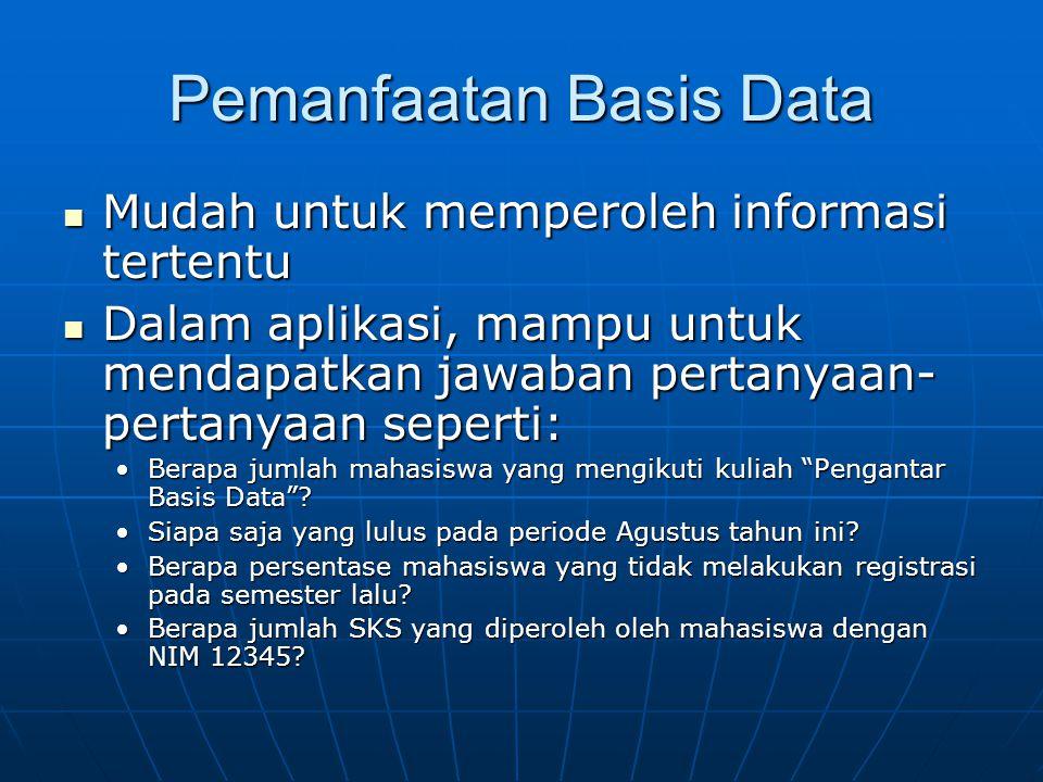 Pemanfaatan Basis Data