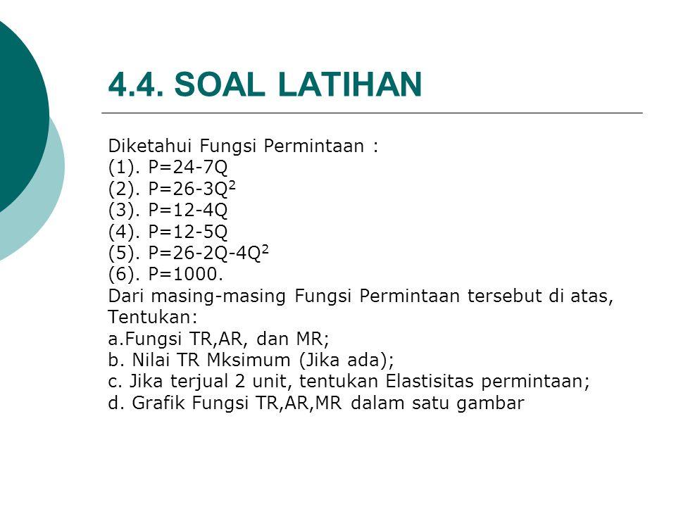 4.4. SOAL LATIHAN Diketahui Fungsi Permintaan : (1). P=24-7Q