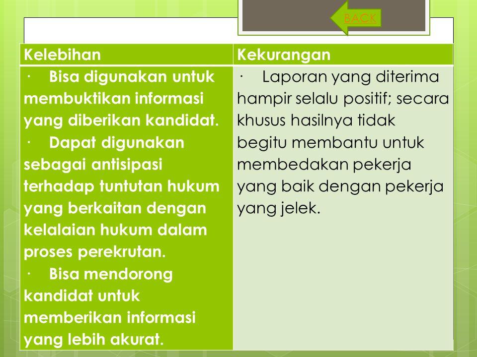 · Bisa digunakan untuk membuktikan informasi yang diberikan kandidat.