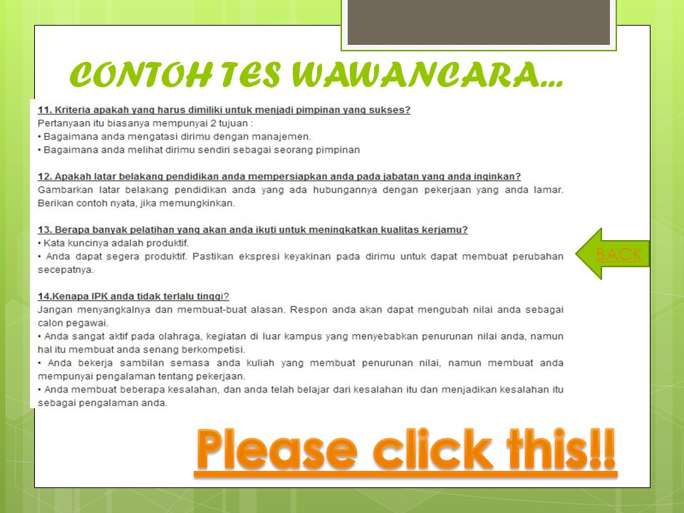 CONTOH TES WAWANCARA... BACK Please click this!!