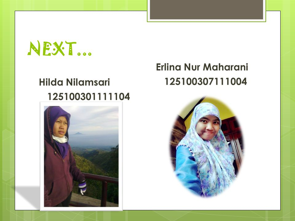 NEXT... Erlina Nur Maharani 125100307111004