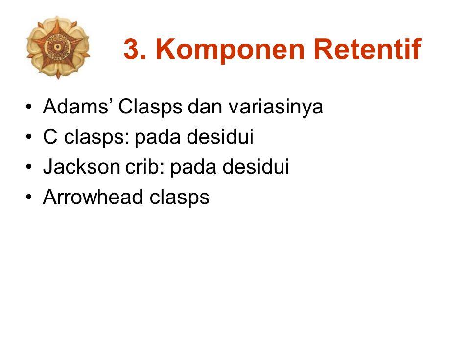 3. Komponen Retentif Adams' Clasps dan variasinya