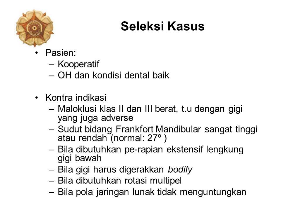 Seleksi Kasus Pasien: Kooperatif OH dan kondisi dental baik