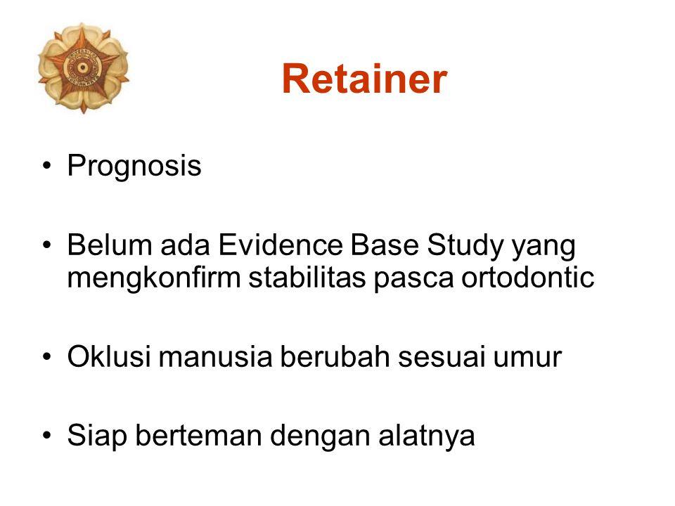 Retainer Prognosis. Belum ada Evidence Base Study yang mengkonfirm stabilitas pasca ortodontic. Oklusi manusia berubah sesuai umur.