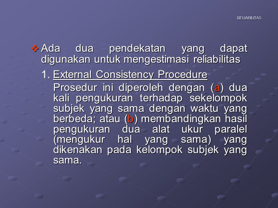 1. External Consistency Procedure