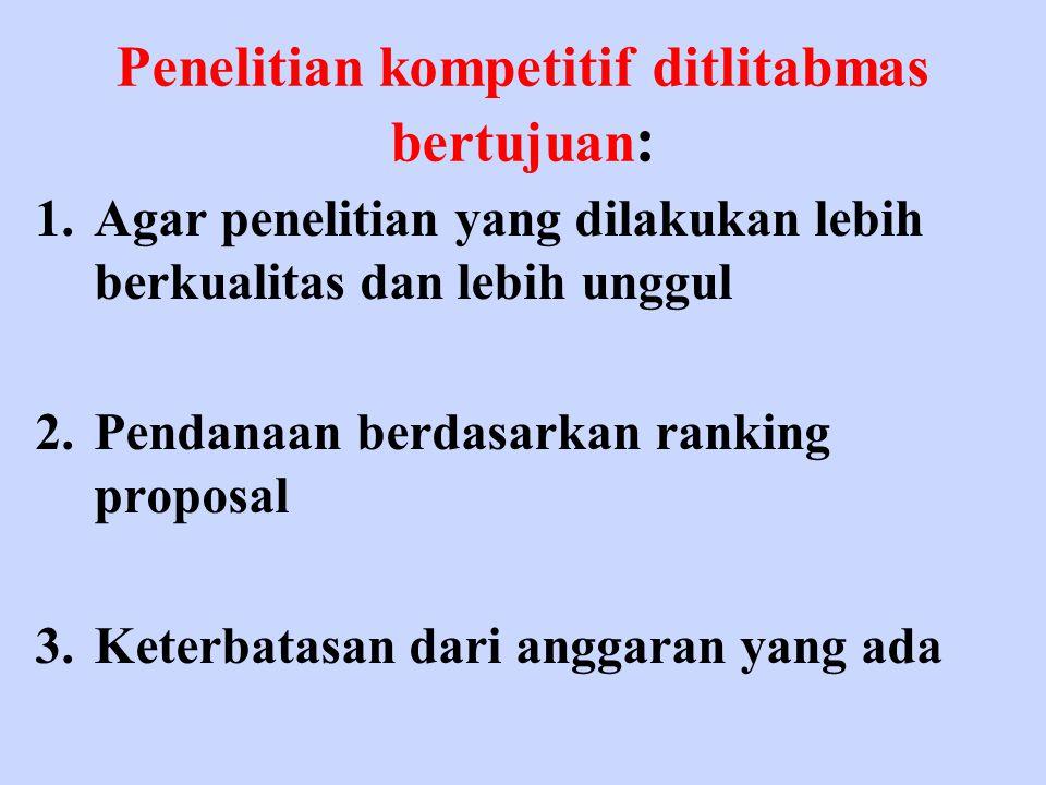 Penelitian kompetitif ditlitabmas bertujuan: