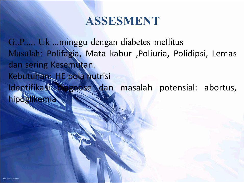 ASSESMENT G..P..... Uk …minggu dengan diabetes mellitus