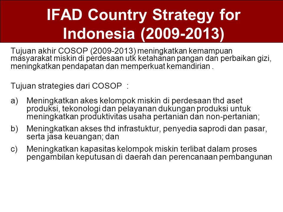 IFAD Country Strategy for Indonesia (2009-2013)