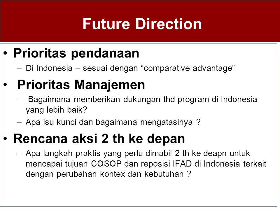Future Direction Prioritas pendanaan Prioritas Manajemen