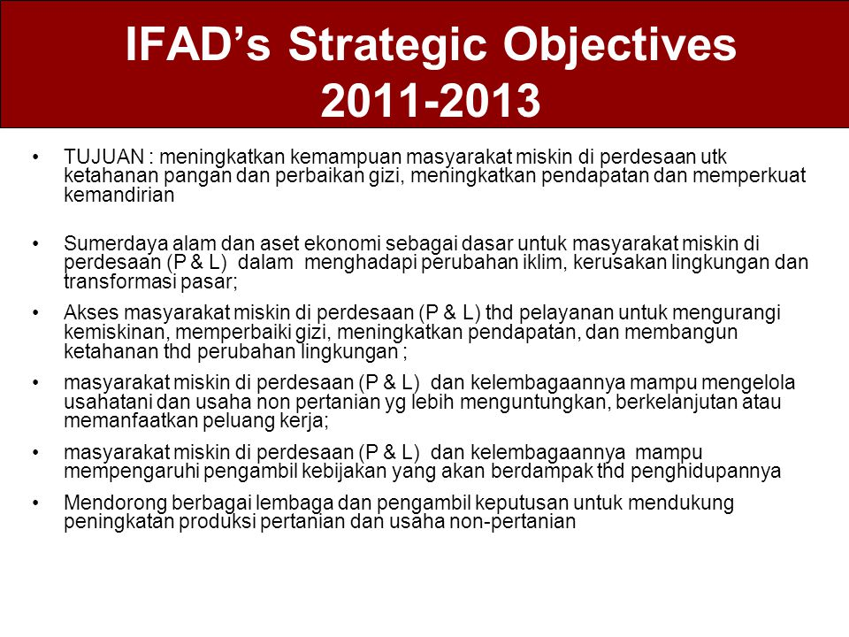 IFAD's Strategic Objectives 2011-2013