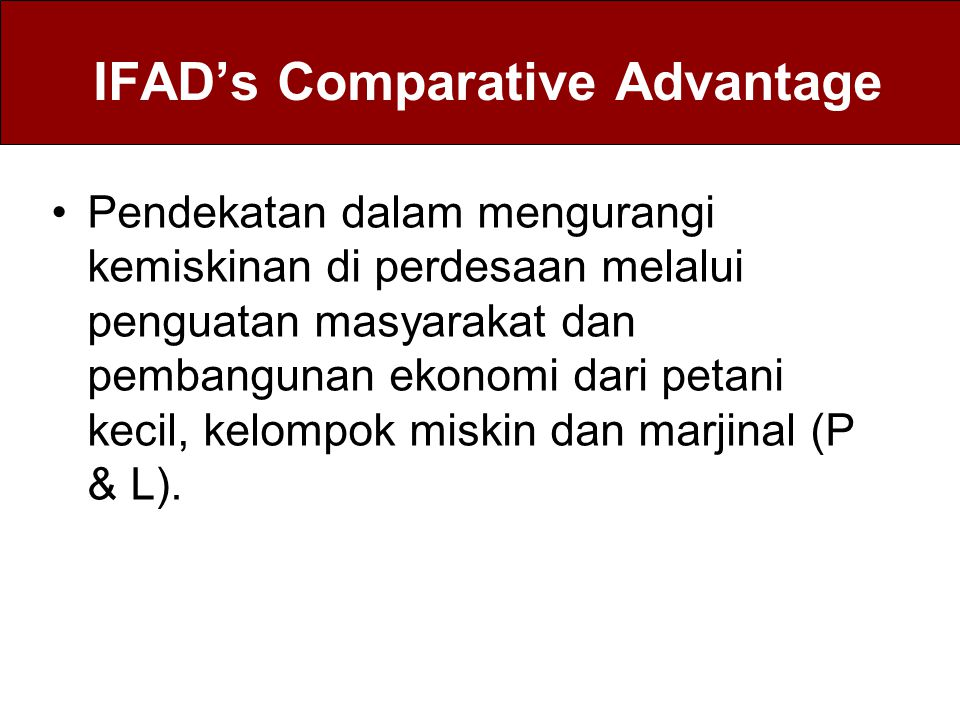 IFAD's Comparative Advantage