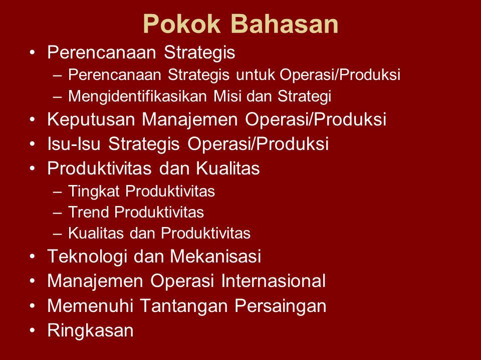 Pokok Bahasan Perencanaan Strategis