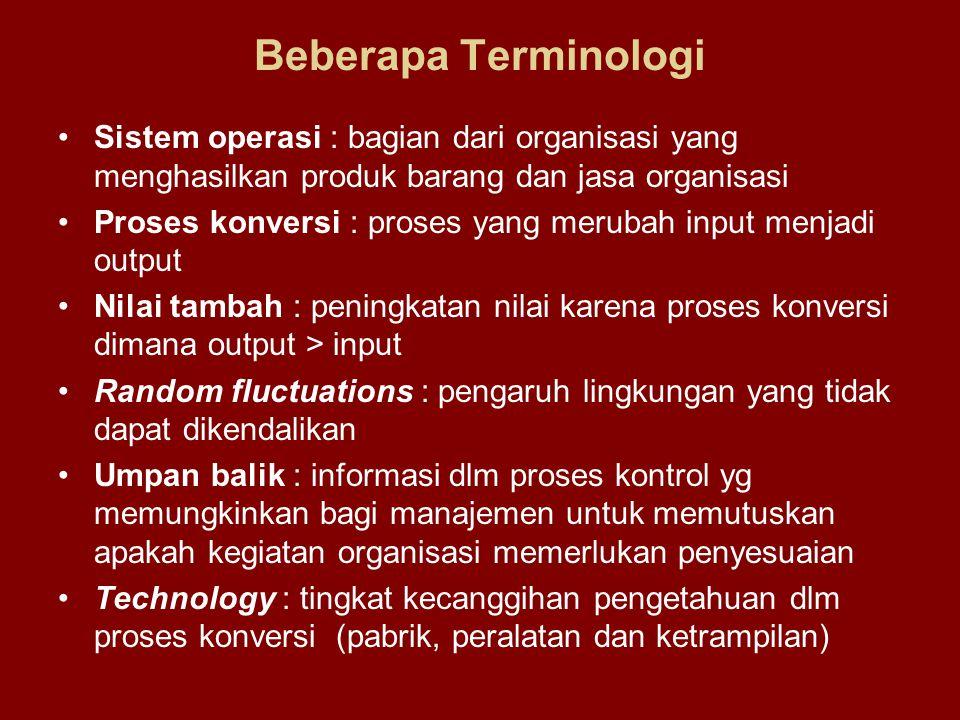 Beberapa Terminologi Sistem operasi : bagian dari organisasi yang menghasilkan produk barang dan jasa organisasi.