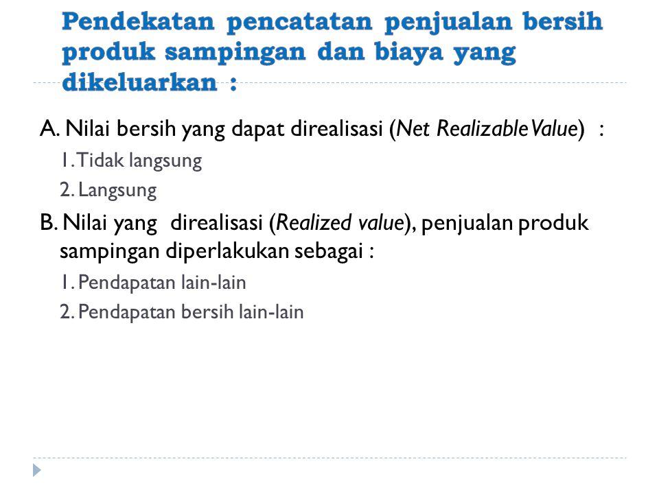 Pendekatan pencatatan penjualan bersih produk sampingan dan biaya yang dikeluarkan :