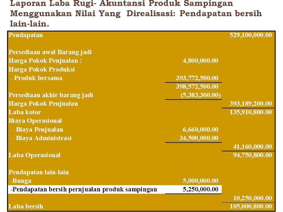 Laporan Laba Rugi- Akuntansi Produk Sampingan Menggunakan Nilai Yang Direalisasi: Pendapatan bersih lain-lain.