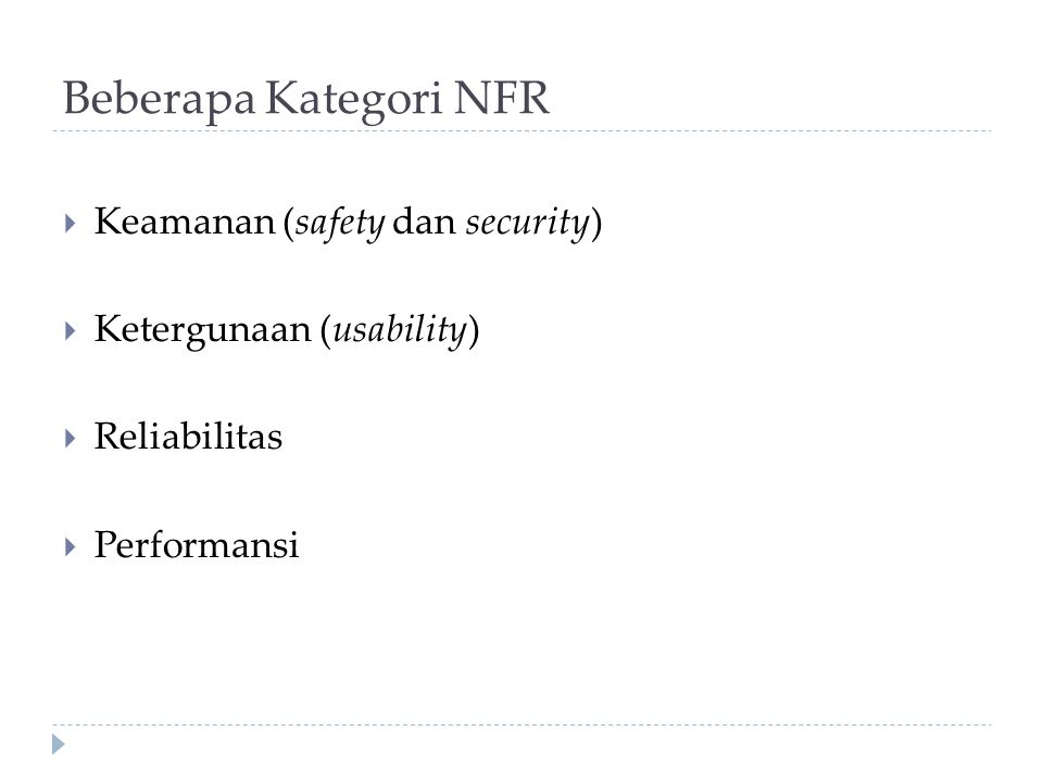Beberapa Kategori NFR Keamanan (safety dan security)