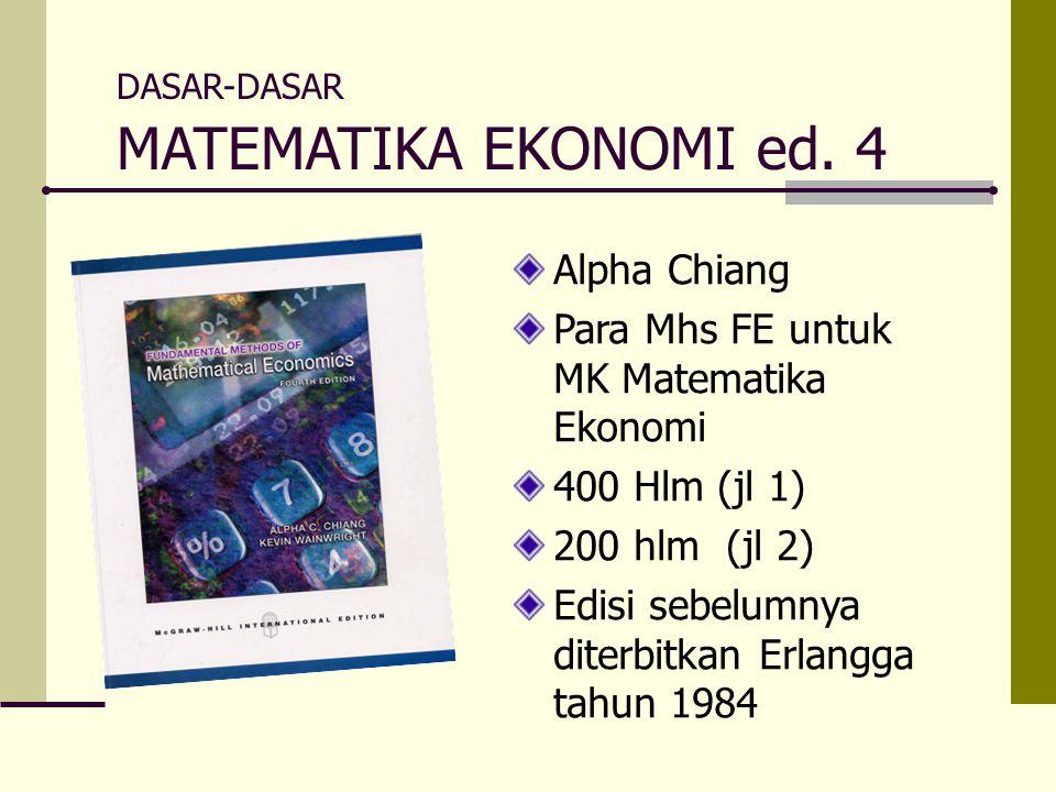 MATEMATIKA EKONOMI ed. 4 Alpha Chiang
