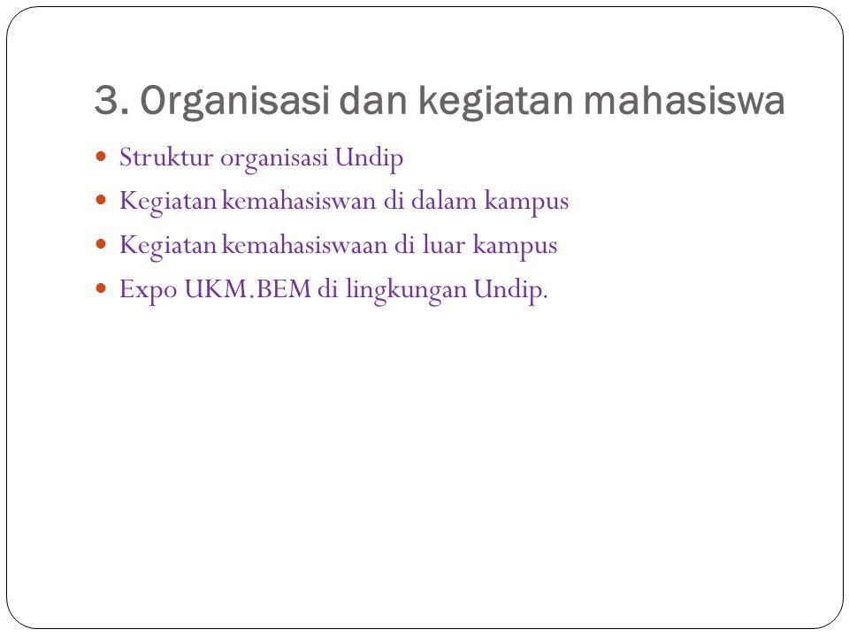 3. Organisasi dan kegiatan mahasiswa