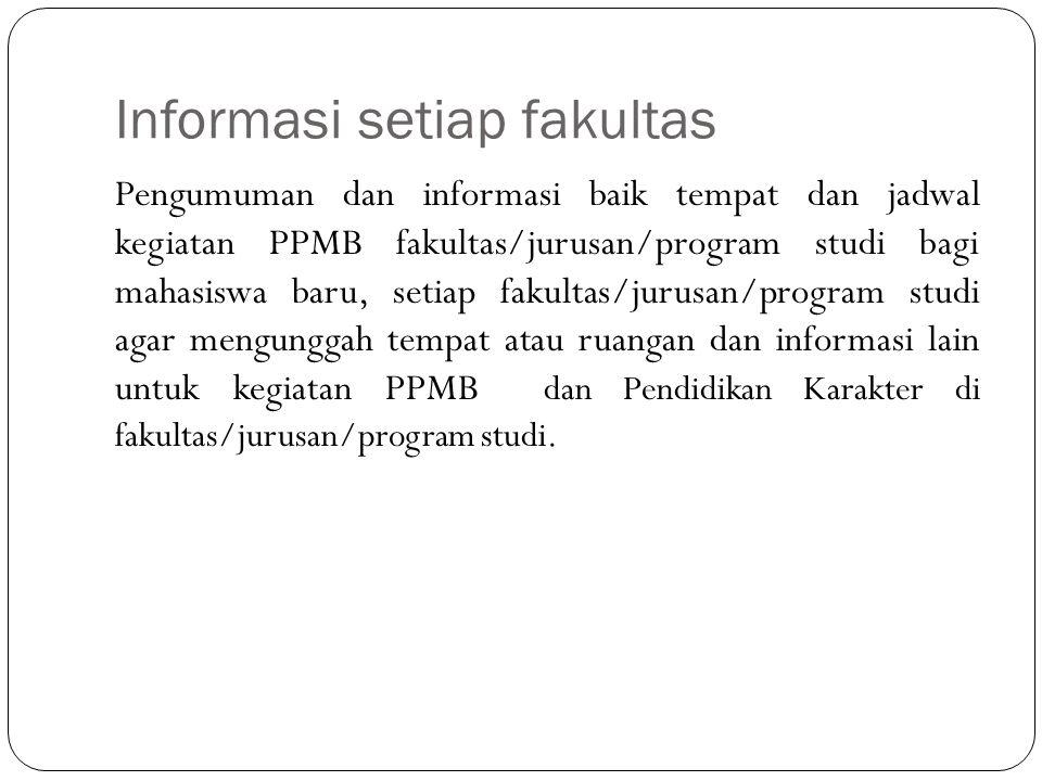 Informasi setiap fakultas