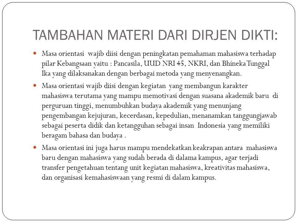 TAMBAHAN MATERI DARI DIRJEN DIKTI: