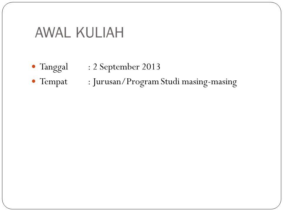 AWAL KULIAH Tanggal : 2 September 2013
